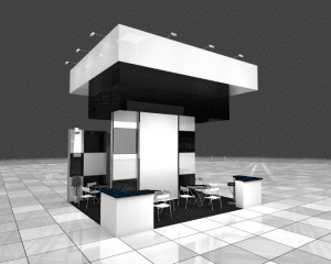 Black and white virtual exhibition stand