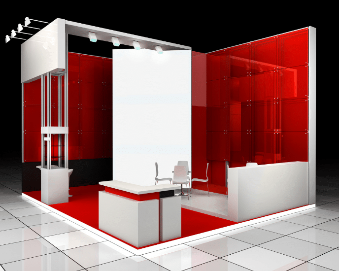 Red virtual exhibition stand